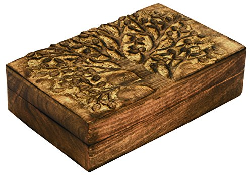 Creative Carved Tree of Life Wooden Trinket Jewelry Box Zen