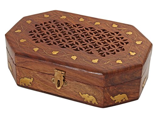 Creative golden elephants leafs design carved lid wooden