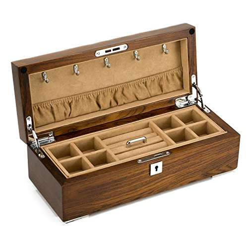 Beautiful rustic solid wood large capacity locking jewelry for Solid wood jewelry chest