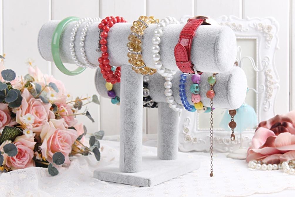 Elegant Gray 2 Tiers T-Bar Velvet Bangle, Bracelet & Watch Holder Display Stand