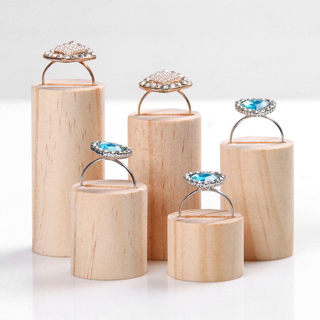 Elegant Wooden Ring Holder Risers