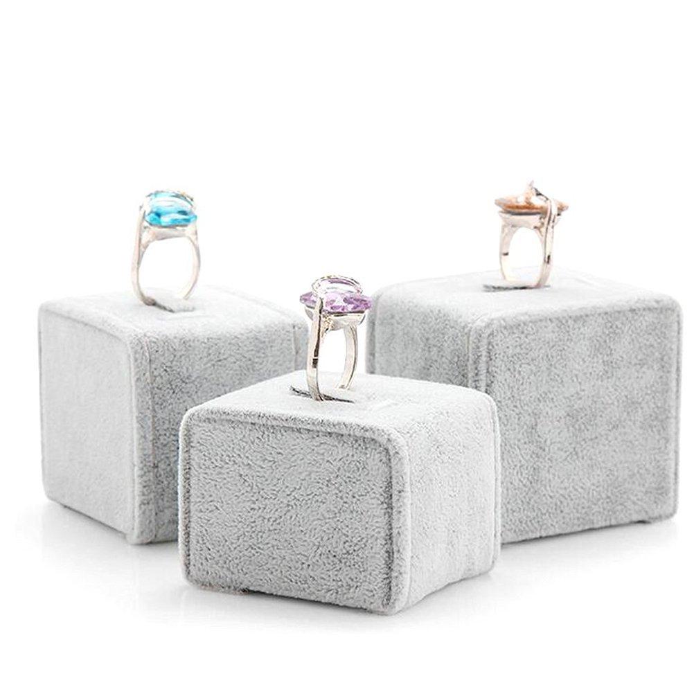 Elegant Gray 3 Piece Velvet Ring Holder Set