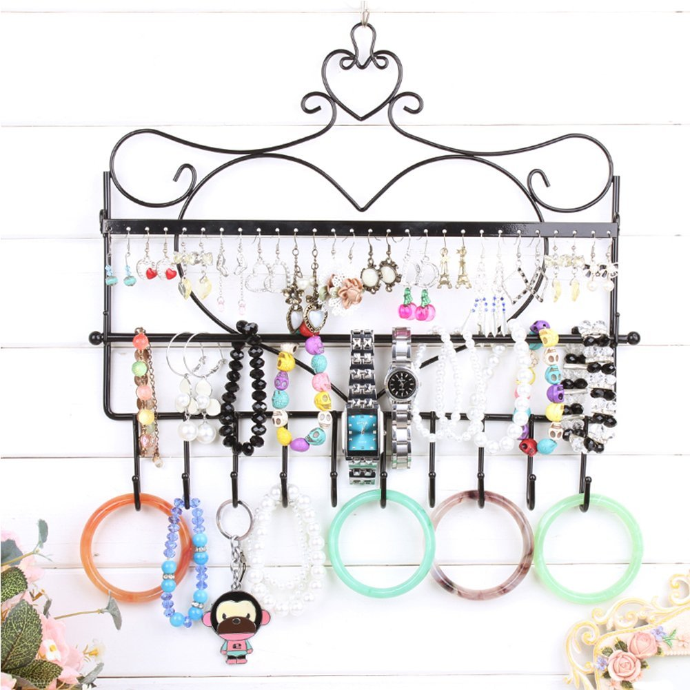 Large Wide Wall Mounted Jewelry Display Rack & Necklace Holder