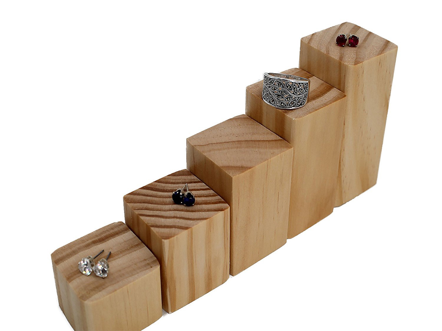 Elegant Rustic Tiered Wooden Ring Holder Risers