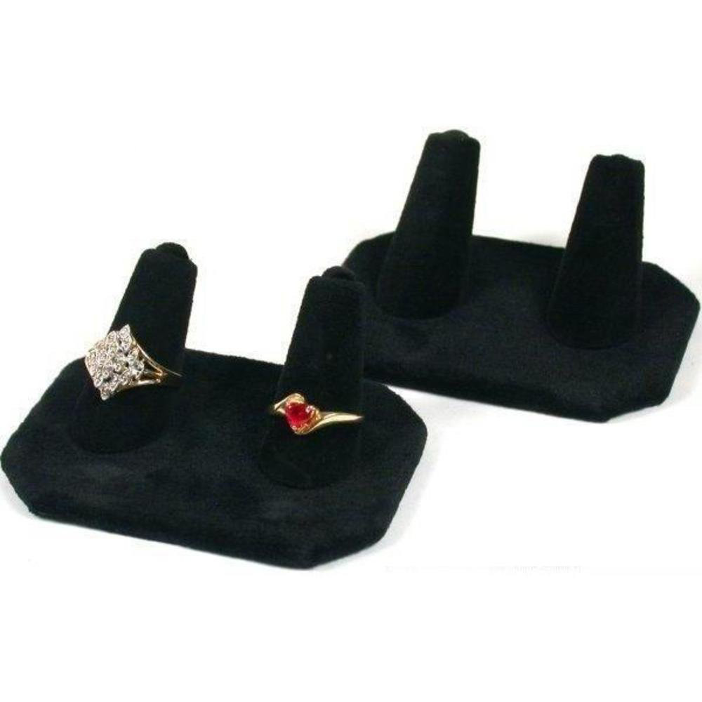 Elegant Black Velvet Ring Holder Fingers Pad
