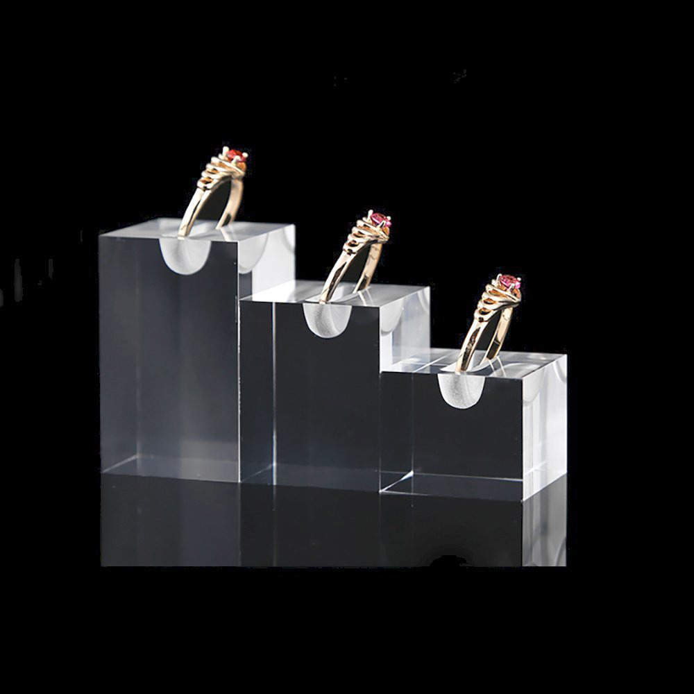 Elegant Acrylic Tiered Ring Holder Set