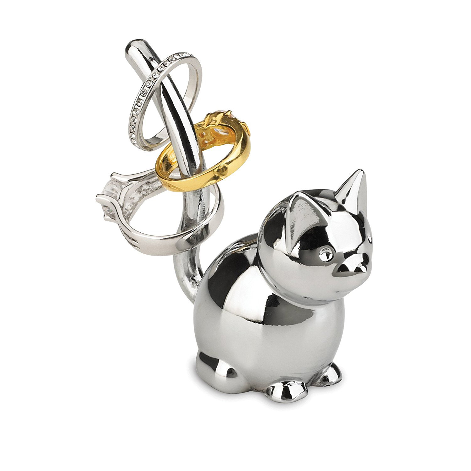 Cute Silver Cat Ring Holder