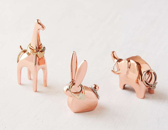 Cute Rose Gold Animals Ring Holder Set