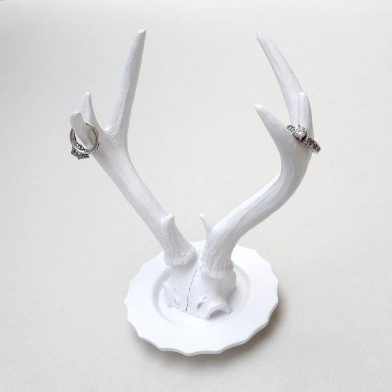 Minimalist White Antler Horns Ring Holder Stand
