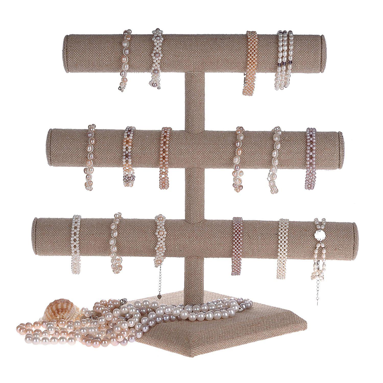 Elegant Triple Tier T-Bar Linen Bracelet Holder