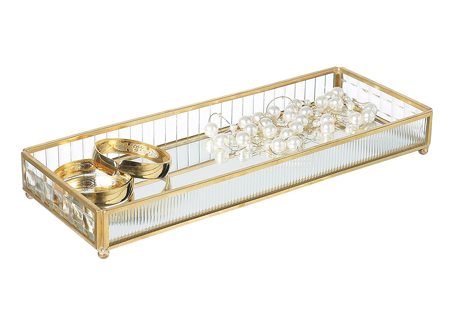 Beautiful Gold Glass Jewelry Display Tray Holder