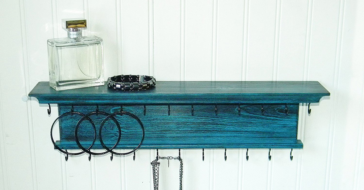 Elegant Acquamarine Colored Wooden Wall Mounted Jewelry Holder with Shelf