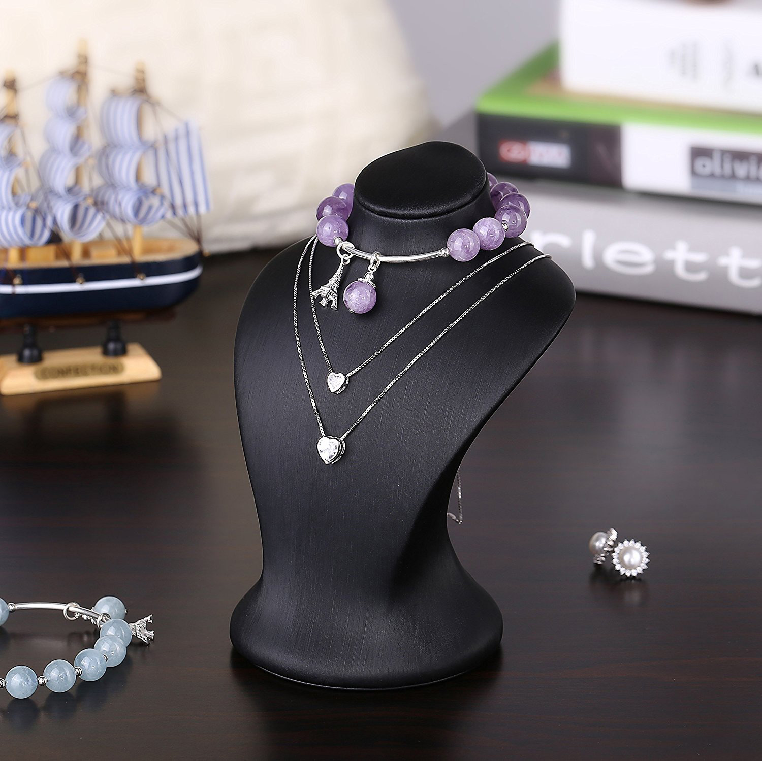 Elegant Black Countertop Mannequin Jewelry Holder Bust