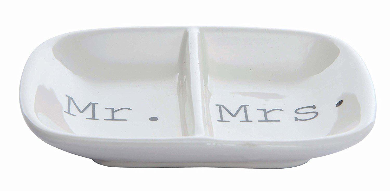 "Simple ""Mr. & Mrs."" Inscribed Ceramic White Ring Holder Dish"