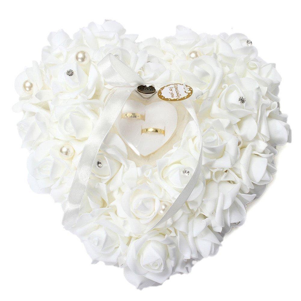 White Rose Shaped Wedding Ring Holder & Satin Pillow