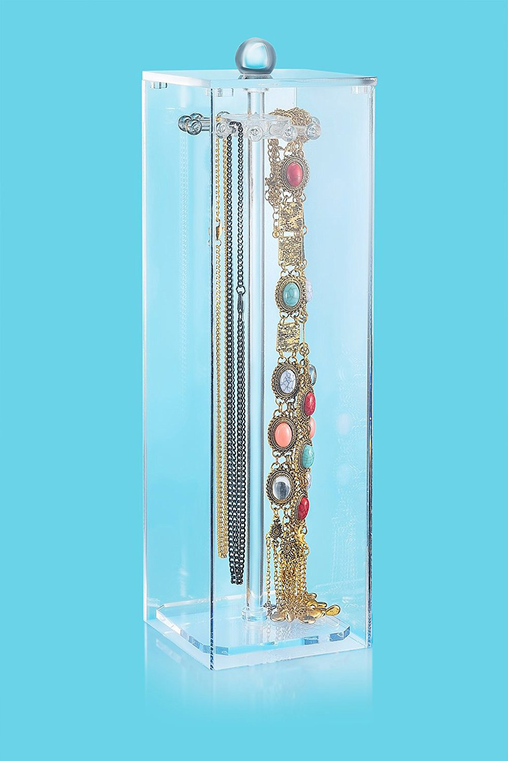 Creative Glass Tower Tall Acrylic Necklace Holder