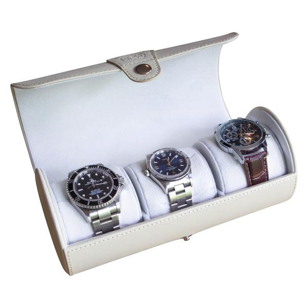 Creative White Faux Leather Cylinder Watch Holder