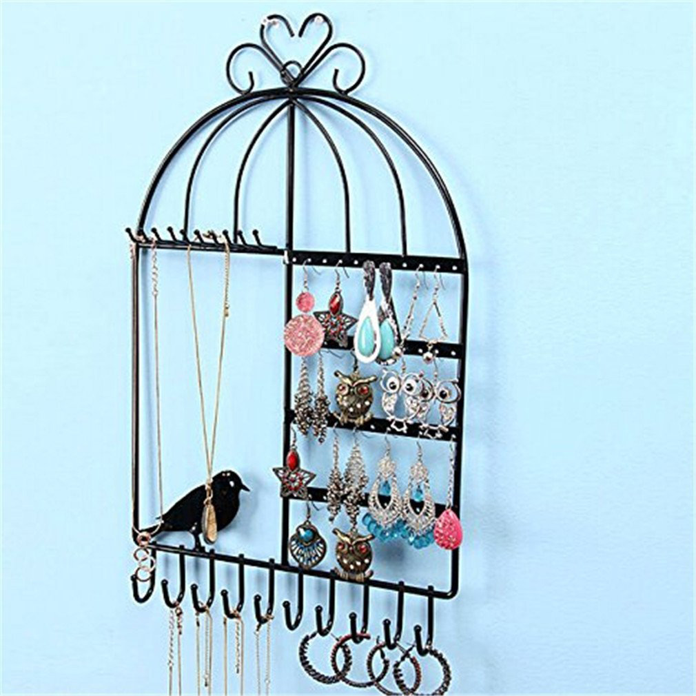 Cute Birdcage Shaped Wall Mounted Jewelry Holder