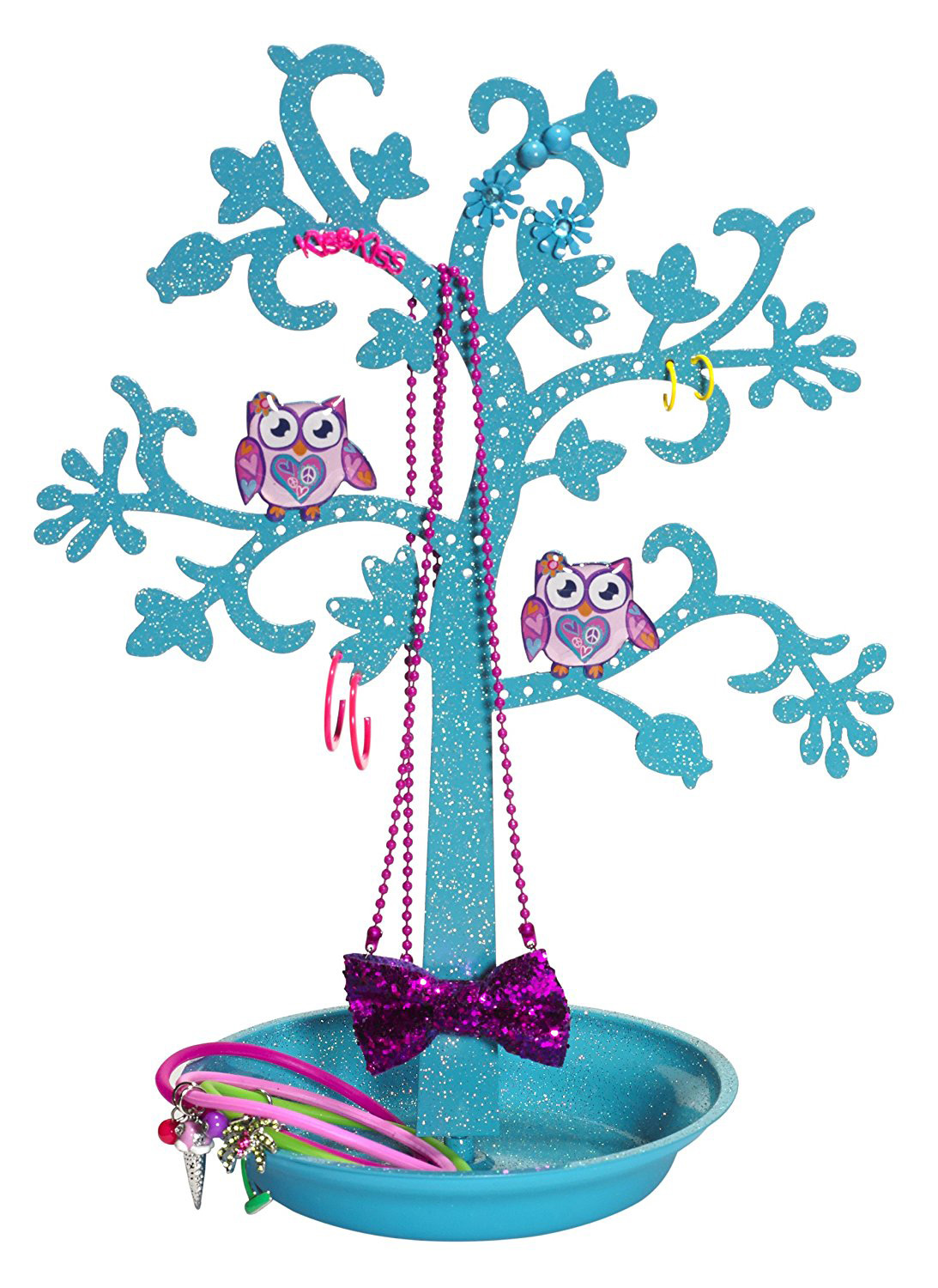 Cute Blue Owl Decorated Jewelry Tree Holder