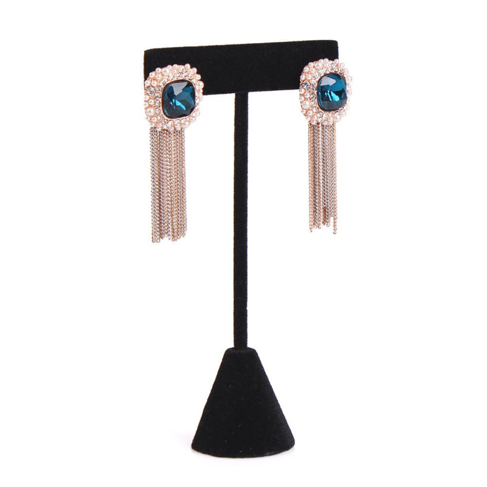Elegant Black T-Bar Tall Earring Holder