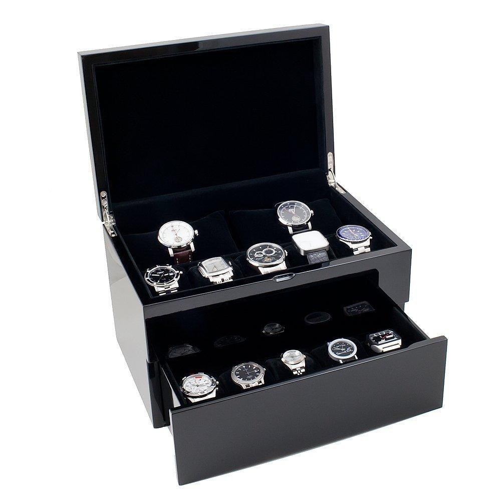 Large Shiny Black Compact Watch Holder Box