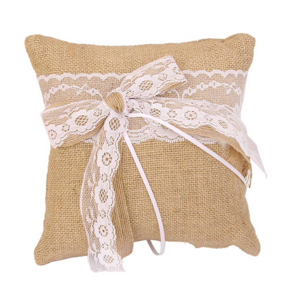 Rustic Linen Wedding Ring Holder Pillow