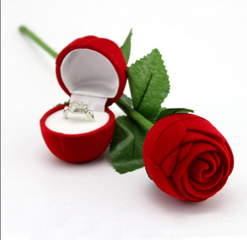 Cute Round Small Red Engagement Ring Holder Box