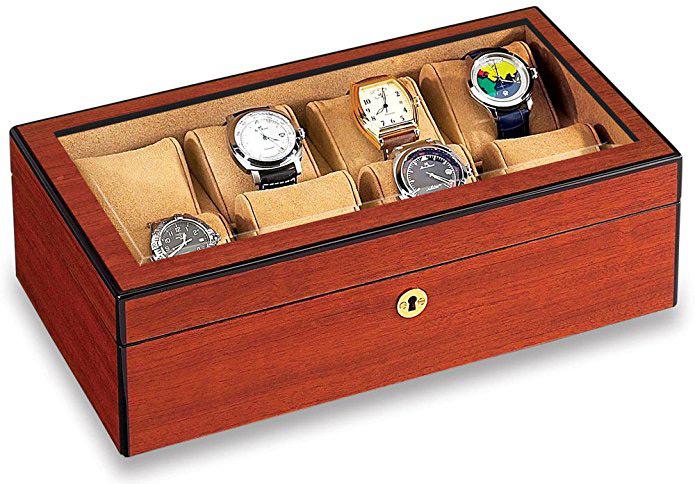 Large Rustic Looking Light Brown Locking Watch Holder Box