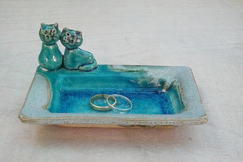 Vintage Blue Wedding Ring Holder Tray