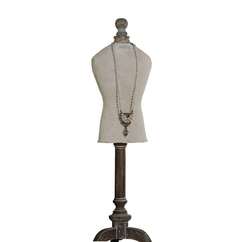 Vintage Gray Dress Form Mannequin Jewelry Holder Stand