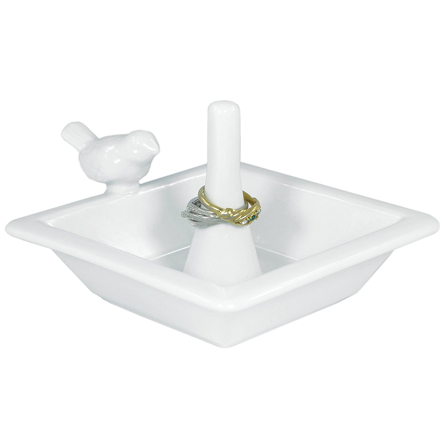 Cute Square Ceramic White Ring Dish Tray