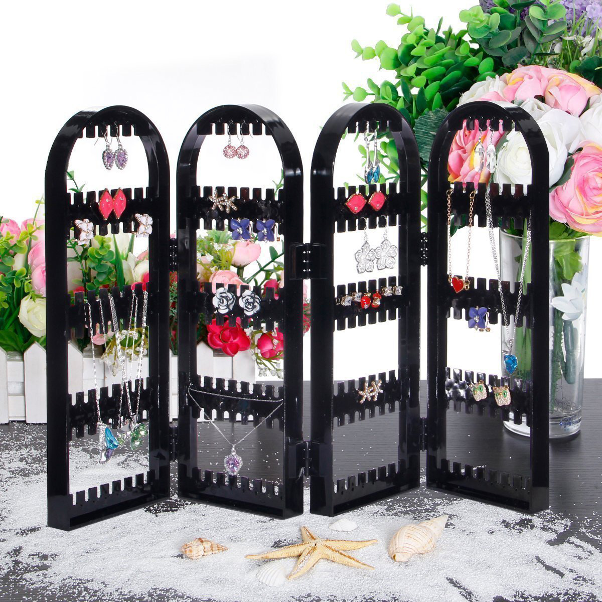 Elegant Black Countertop Folding Panels Jewelry Holder
