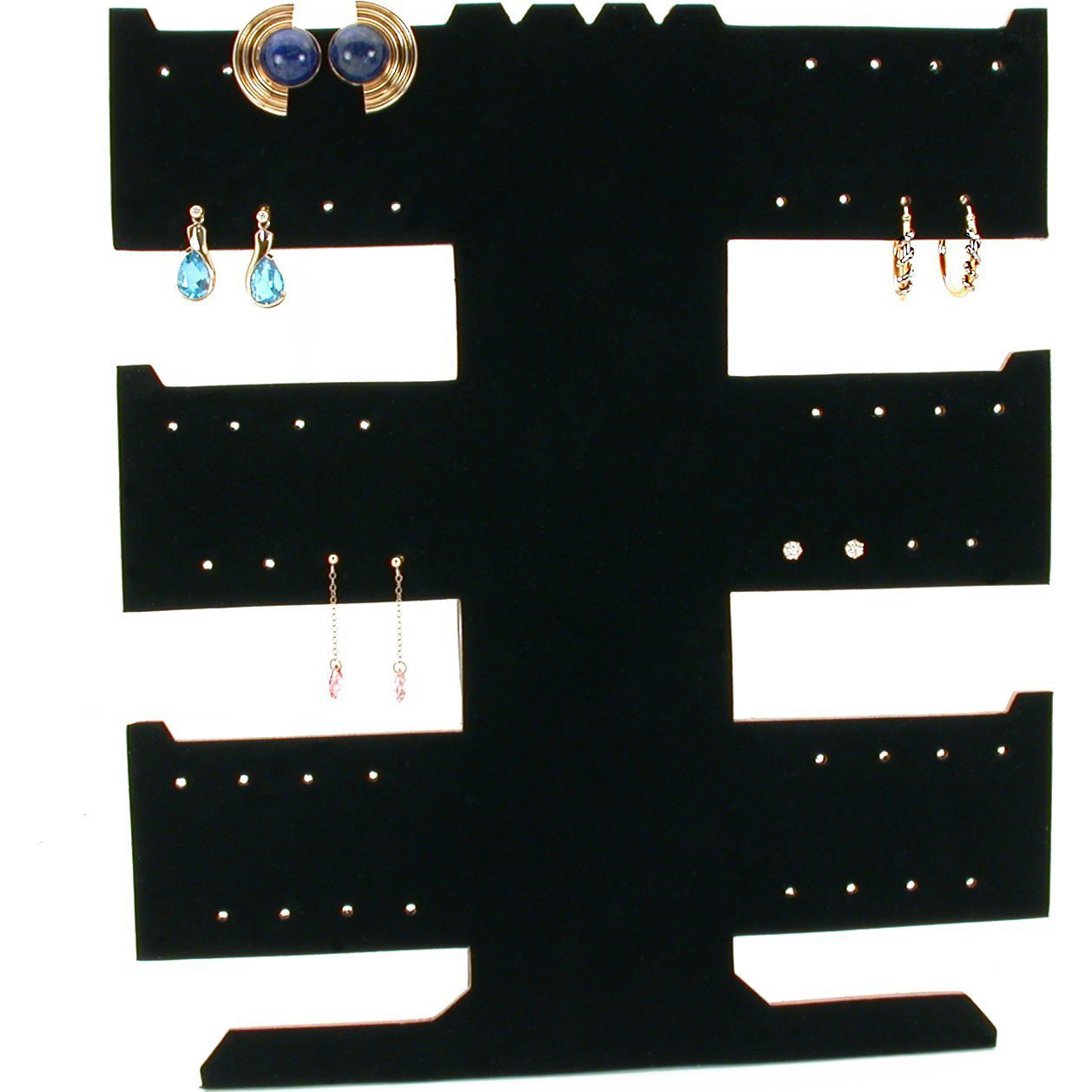 Large Tall 3 Tier Black Earring Holder Stand