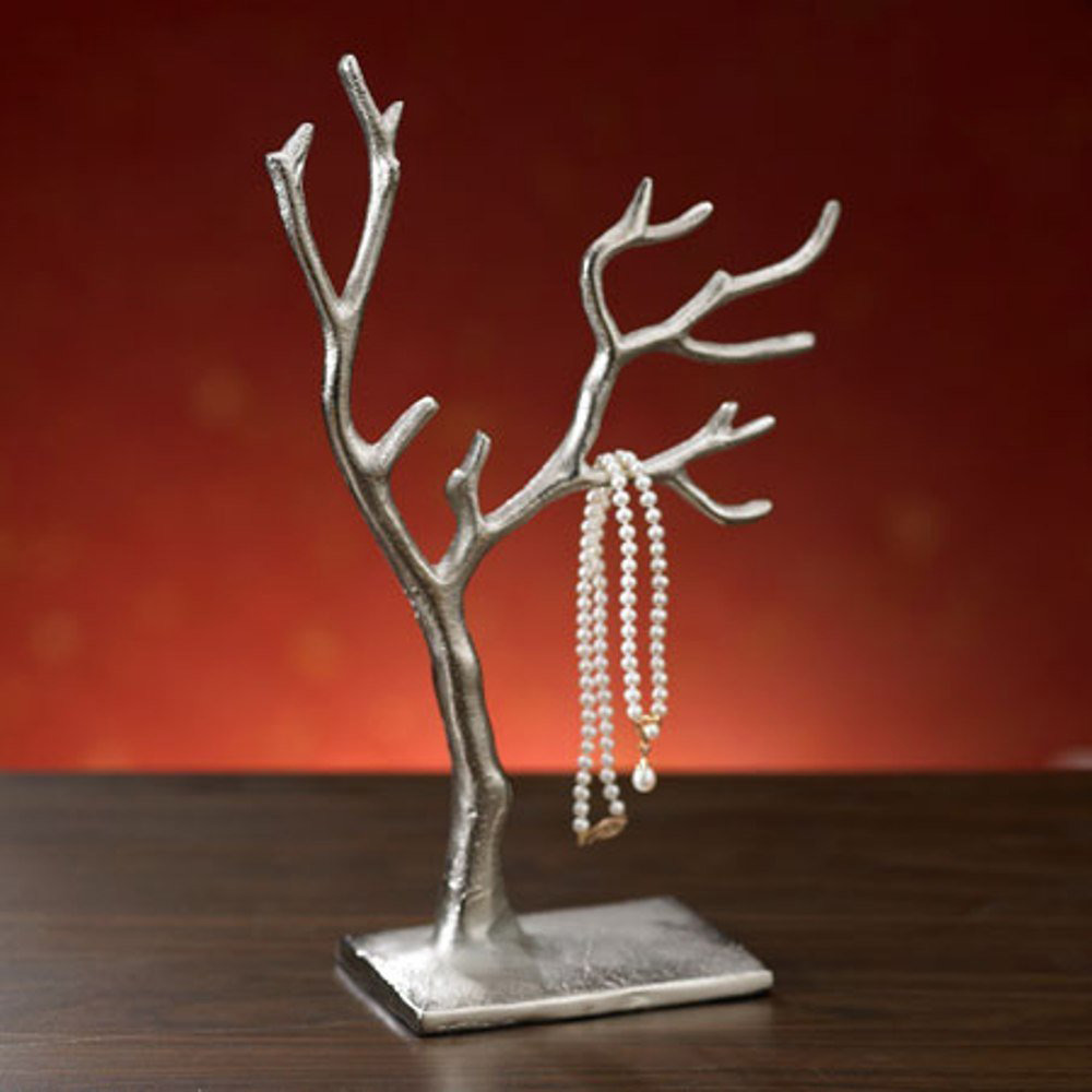 Simple Small Silver Jewelry Tree Holder