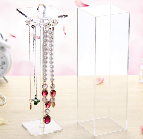 Transparent Plexiglas Tower Necklace Holder Stand