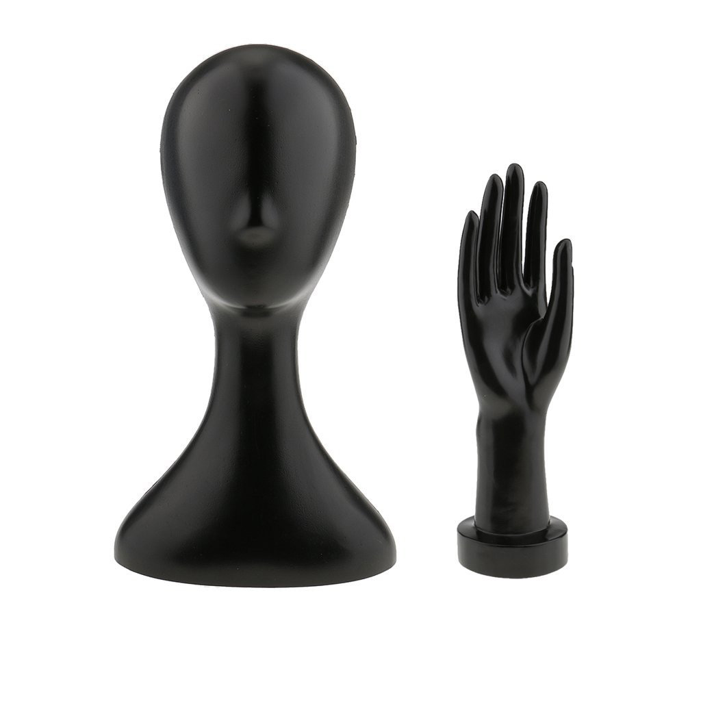 Abstract Minimalist Black Mannequin Jewelry Holder Head & Hand