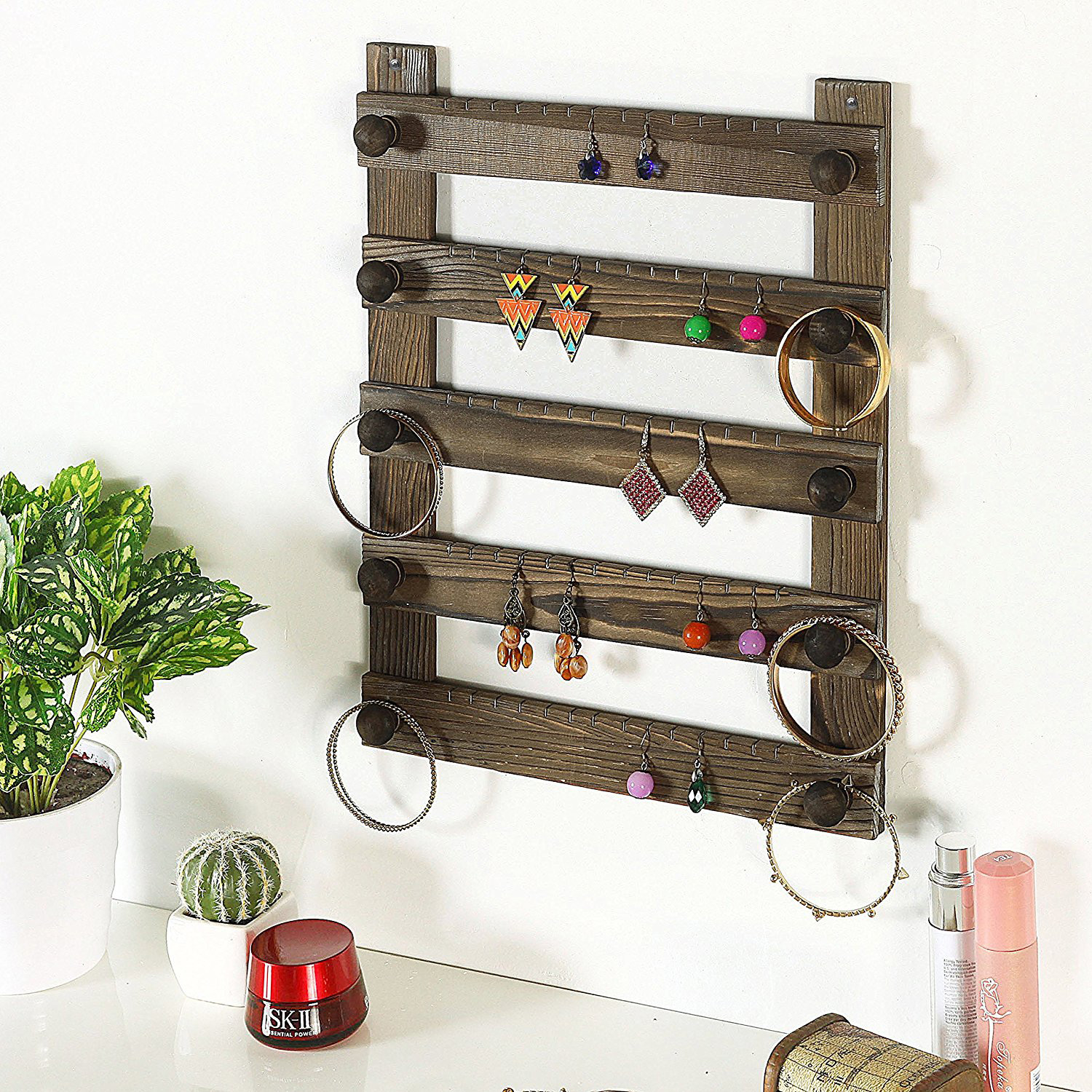 Rustic Vintage Wooden Wall Mounted Large Jewelry Holder