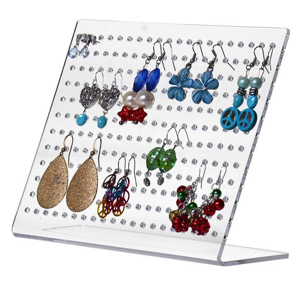 Slanted Large Capacity Acrylic Stud Earring Jewelry Holder