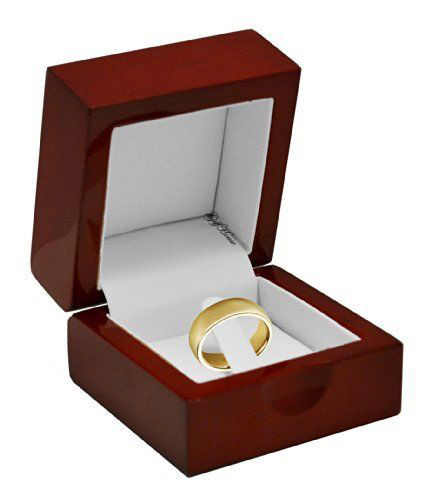 Beautiful Cherry Red Wooden Engagement Ring Holder Box