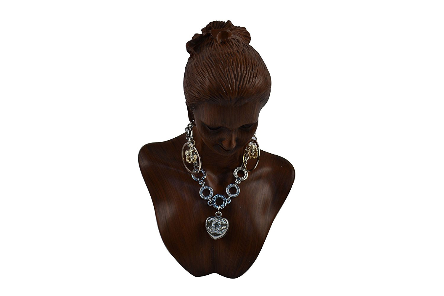 Realistic Dark Brown Mannequin Jewelry Holder Bust