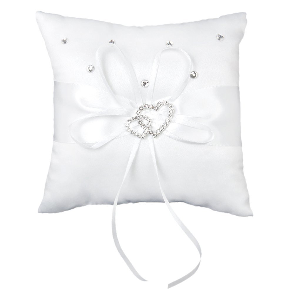 Beautiful Satin White Wedding Ring Holder Pillow