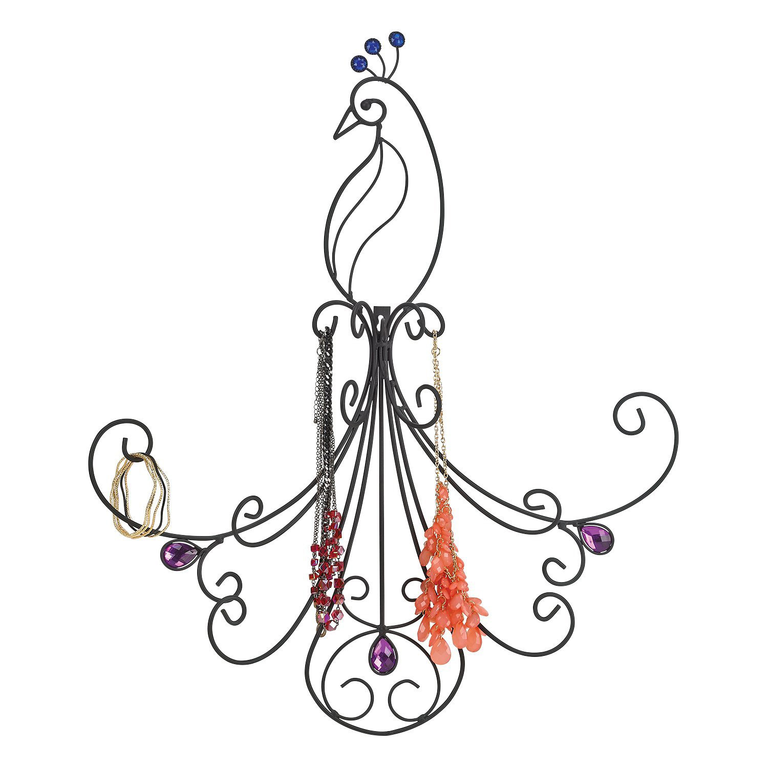 Creative Peacock Shaped Black Metal Wire Wall Mounted Jewelry Holder