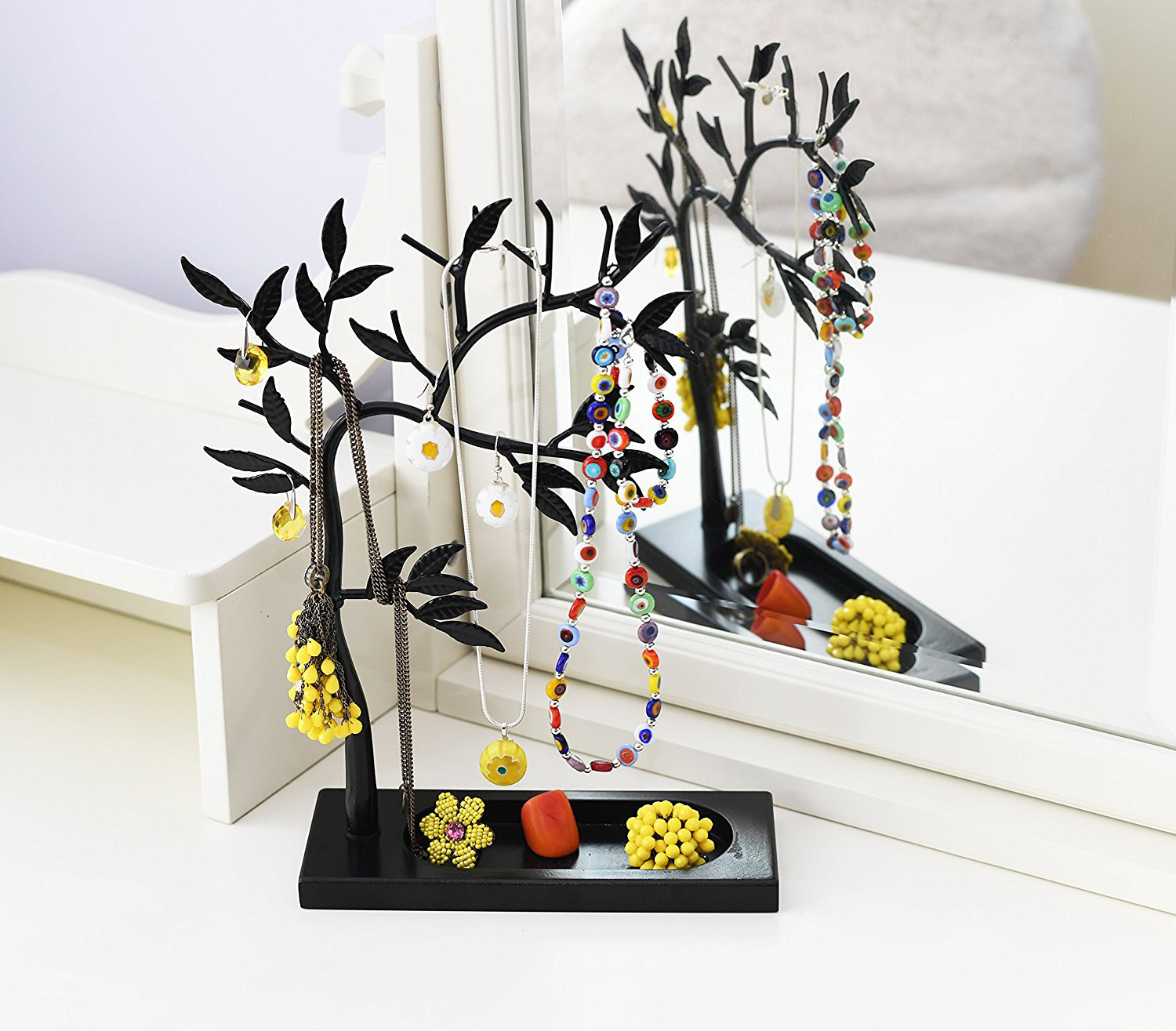 Minimalist Black Medium Jewelry Tree Holder with Accessory Tray