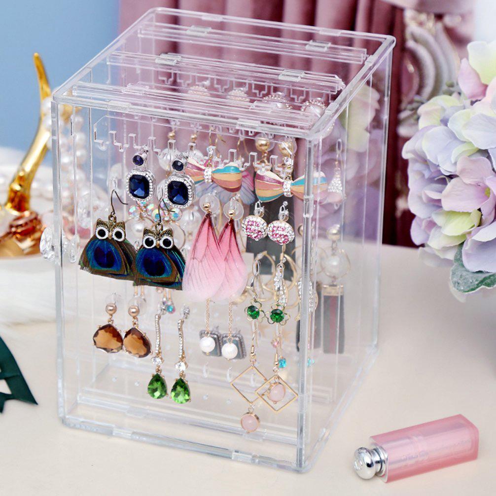 Compact Acrylic Tower Box Jewelry Holder