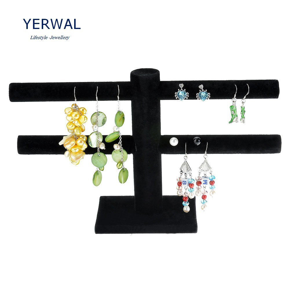 Elegant Double Tier Black T-Bar Earring Holder
