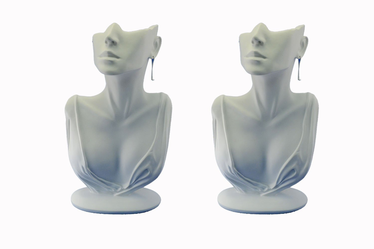 Elegant Minimalist White Half Head Mannequin Jewelry Holder Bust