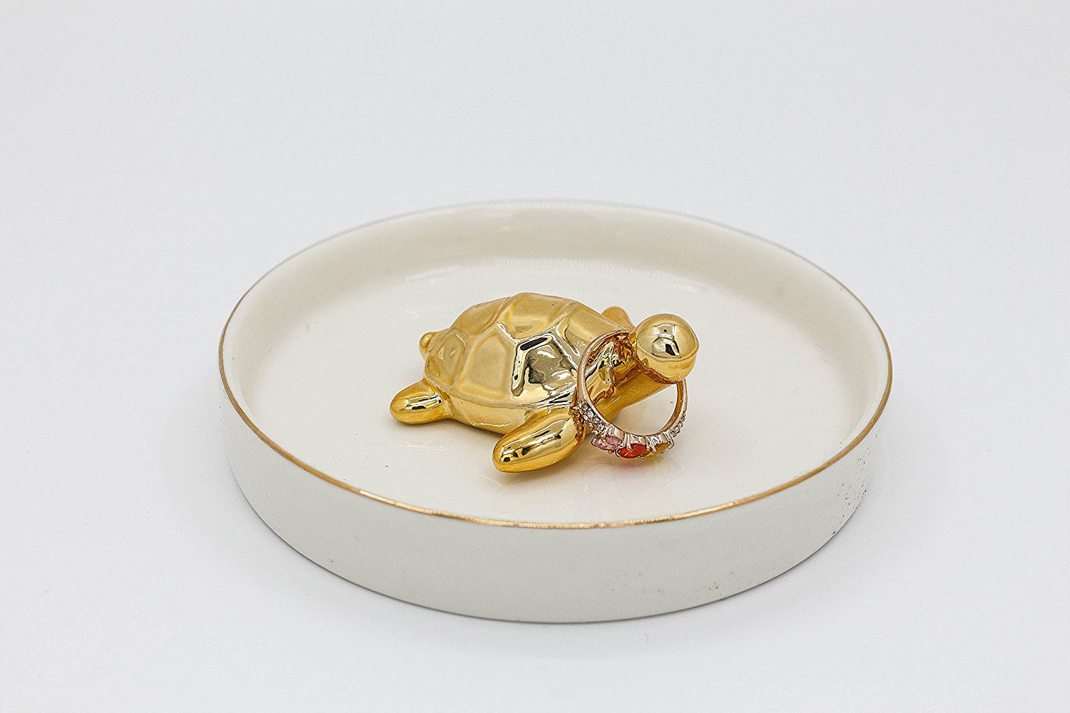 Cute Round Ring Dish Tray with Golden Turtle