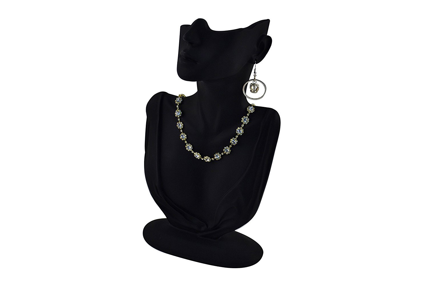 Elegant Black Mannequin Jewelry Holder Bust