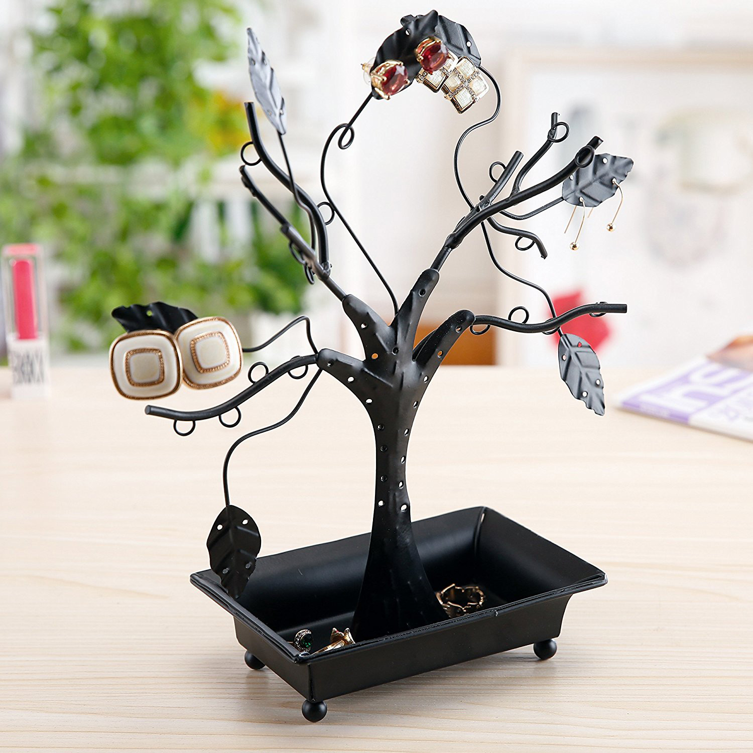 Cute Black Large Jewelry Tree Holder with Ring Tray
