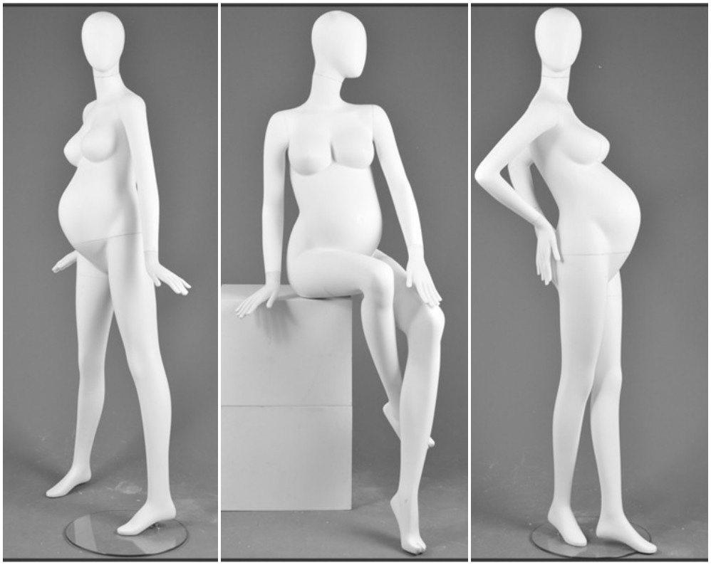 ZM-107 - Eleanor - Abstract White Pregnant Maternity Mannequin